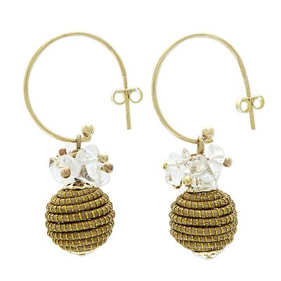 Fair Trade Crystal Accented Golden Grass Dangle Earrings