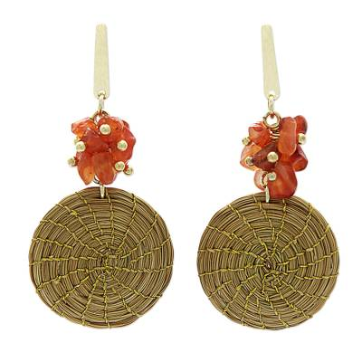 Hand Crafted Agate and Golden Grass Dangle Earrings