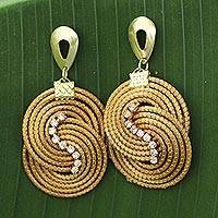 Rhinestone and golden grass dangle earrings, 'Intertwined Circles' - Artisan Crafted Rhinestone and Golden Grass Dangle Earrings