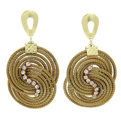 Artisan Crafted Rhinestone and Golden Grass Dangle Earrings