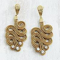 Gold plated golden grass dangle earrings, 'Jalapão Grandeur' - Golden Grass and 18k Gold Plate Artisan Crafted Earrings