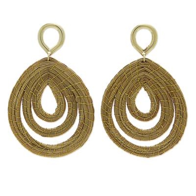 Hand Crafted Golden Grass Dangle Earrings with Gold Plating