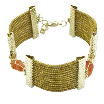Fair Trade Brazilian Golden Grass Orange Agate Pendant Link Bracelet
