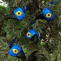 Leather ornaments, 'Macaws' (set of 4) - Set of 4 Artisan Crafted Blue Parrot Mask Leather Ornaments
