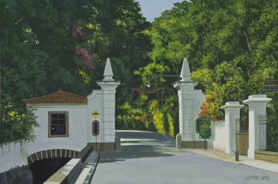 'Entrance to the Tijuca Forest' - Original Acrylic Landscape Painting on Canvas from Brazil