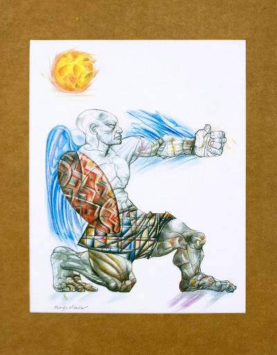 Brazilian Acrylic and Crayon Gravure Print of Warrior, 'African Warrior'