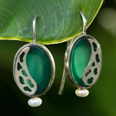 Agate and cultured pearl drop earrings, 'Glowing Forest' - Brazil Green Agate and Pearl Sterling Silver Drop Earrings