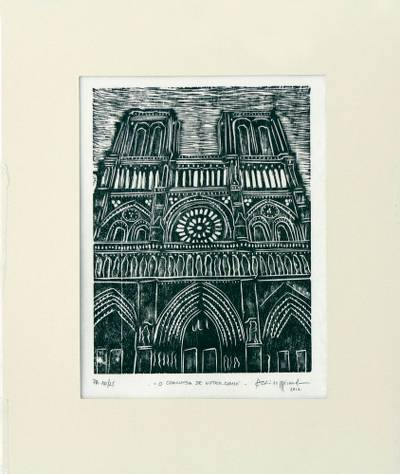 'The Hunchback of Notre Dame' - Black and White Xilogravure Print of Notre Dame
