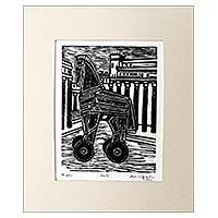 'Iliad' - Brazilian Surrealist Woodcut Print of Trojan Horse