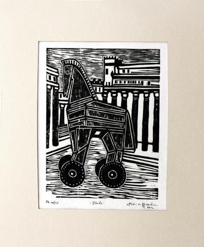 Brazilian Surrealist Woodcut Print of Trojan Horse