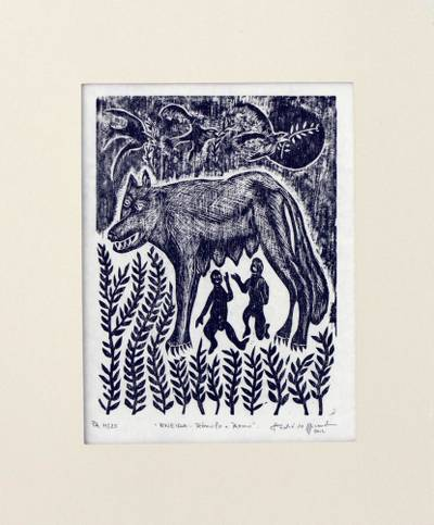 'Romulus and Remus' - Surrealist Brazilian Woodcut Print of Romulus and Remus