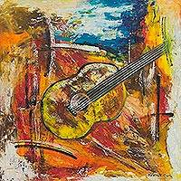 'Violin' - Original Expressionist Acrylic Painting of Violin on Canvas