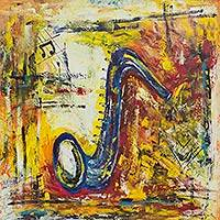 'The Saxophone' - Signed Original Acrylic Painting of Saxophone from Brazil