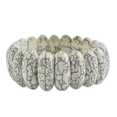 Artisan Crafted Howlite Stretch Bracelet from Brazil