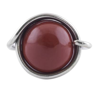 Artisan Crafted Jasper and Sterling Silver Cocktail Ring