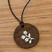 Wood and sterling silver pendant necklace, 'Bouquet of Flowers' - Silver Flower on Wood Pendant with Leather Cord Necklace