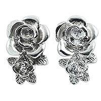 Sterling silver button earrings, 'Rosebush Floral' - Hand Crafted Sterling Silver Rose Button Earrings