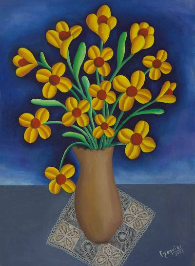 Oil Painting On Canvas Of Flower Vase With Yellow Flowers Well