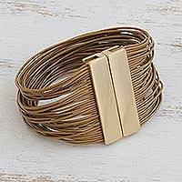 Gold accented leather strand bracelet, 'Golden Rio Glam' - Brazilian Gold Plated Steel and Leather Strand Bracelet