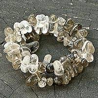 Featured review for Smoky quartz and crystal stretch bracelets, Translucent Crystal (pair)
