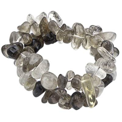 Smoky and Clear Quartz Stretch Bracelets (Pair) from Brazil