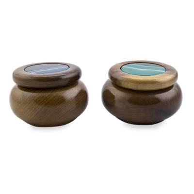 Agate and wood decorative boxes, 'Serene Waters' (pair) - Artisan Crafted Agate and Cedar Wood Decorative Boxes (Pair)