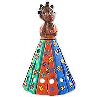 Wood decorative doll, 'Francisca' - Hand Crafted Colorful Decorative Wood Doll from Brazil