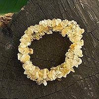 Citrine stretch bracelets, 'Light Caramel' (set of 3) - Three Brazilian Artisan Crafted Citrine Stretch Bracelets