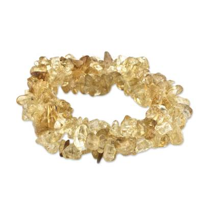 Three Brazilian Artisan Crafted Citrine Stretch Bracelets