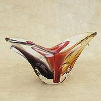 Hand blown art glass vase, 'Earthtone' - Murano-Inspired Hand Blown Art Glass Vase from Brazil