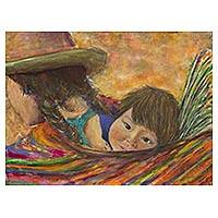 'Indigenous Baby in a Sling' - Original Acrylic Painting on Canvas of Mother and Child