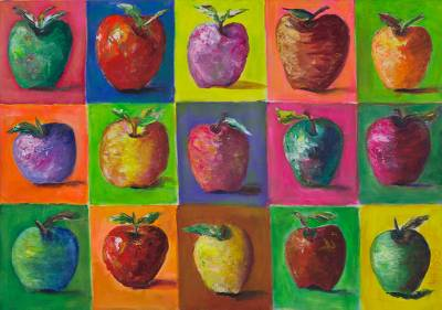 'Forbidden Fruit' - Original Brazilian Apples Painting Acrylic on Canvas