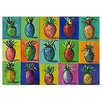 'Pineapple' - Brazilian Original Acrylic Painting of Pineapples on Canvas