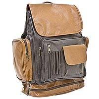 Leather backpack, 'Long Journey' - Artisan Crafted Dual Toned Brown Leather Backpack