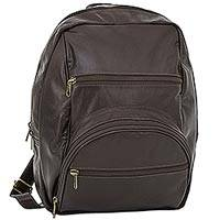 Leather backpack, 'Long Travels' - Artisan Crafted Dark Brown Leather Backpack from Brazil