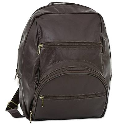 Artisan Crafted Dark Brown Leather Backpack from Brazil