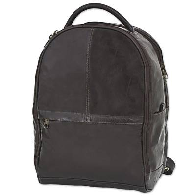 Leather backpack, 'Coffee Journey' - Artisan Crafted Dark Brown Leather Backpack from Brazil