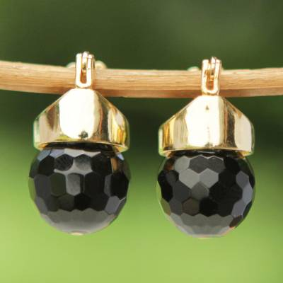 Gold plated onyx drop earrings, 'Black Acorn' - Brazilian Black Onyx Drop Earrings Bathed in 18k Gold