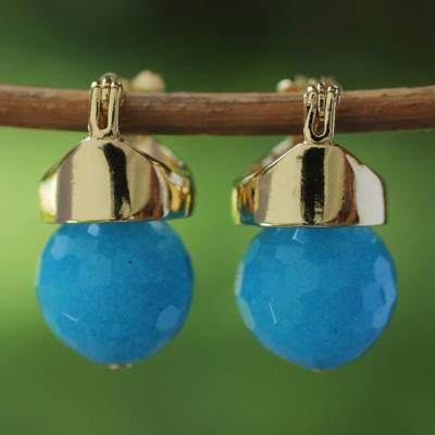 Gold plated agate drop earrings, 'Blue Acorn' - 18k Gold Plated Drop Earrings with Blue Agate from Brazil