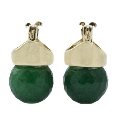 Green Agate Drop Earrings Bathed in 18k Gold from Brazil