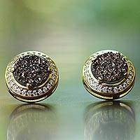 Brazilian drusy agate button earrings, 'Bronze Beauty' - Handcrafted Gold Plated Bronze Tone Brazilian Drusy Earrings