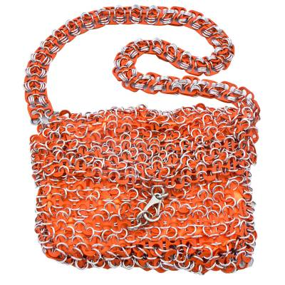 Hand Crafted Evening Bag with Shimmery Orange Soda Pop Tops
