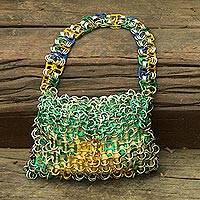 Recycled pop-top bag, 'Shimmery Brazil' - Brazilian Flag Handcrafted Evening Bag with Soda Pop Tops