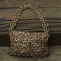 Soda pop-top bag, 'Mini-Shimmery Bronze' - Artisan Crafted Bronze Color Evening Bag with Soda Pop Tops