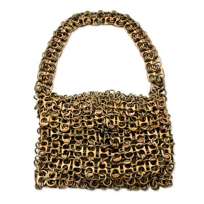 Artisan Crafted Bronze Color Evening Bag with Soda Pop Tops