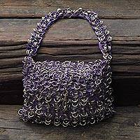 Soda pop-top bag, 'Mini-Shimmery Purple' - Shimmery Purple Handcrafted Evening Bag with Soda Pop Tops