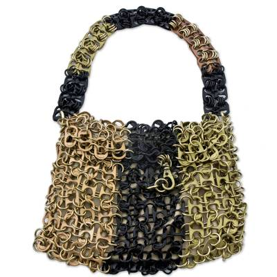 Soda pop-top bag, 'Mini-Shimmery Metal' - Awesome Eco-Chic Soda Pop Evening Bag Crafted by Hand