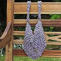 Soda pop-top shoulder bag, 'Mini-Shimmery Purple' - Shimmery Purple Handcrafted Shoulder Bag with Soda Pop Tops
