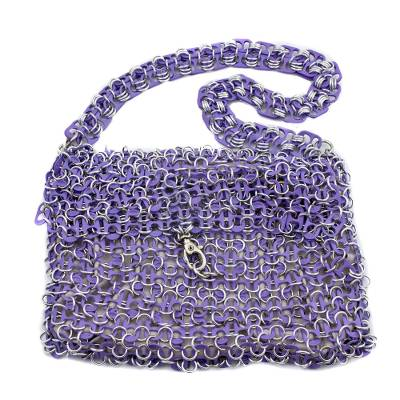 Shimmery Purple Handcrafted Shoulder Bag with Soda Pop Tops