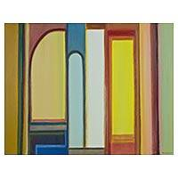 'Colorful Windows' - Original Brazilian Cubist Painting in Multicolors